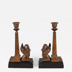 Antique Pair of English Egyptian Revival Candlesticks - 1248247
