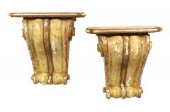 Antique Pair of Painted Wall Brackets - 1186701