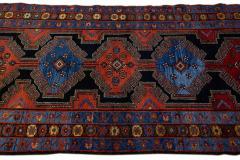 Antique Persian Malayer Handmade Tribal Blue Long Wool Runner - 2139702