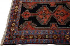 Antique Persian Malayer Handmade Tribal Blue Long Wool Runner - 2139703