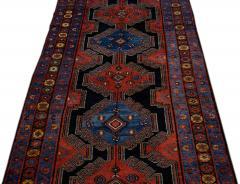 Antique Persian Malayer Handmade Tribal Blue Long Wool Runner - 2139704