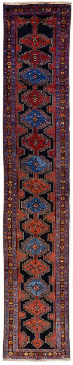 Antique Persian Malayer Handmade Tribal Blue Long Wool Runner - 2139705
