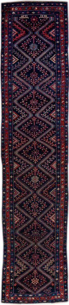 Antique Pesian Malayer Handmade Tribal Blue And Red Wool Runner Rug - 2138005