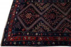 Antique Pesian Malayer Handmade Tribal Blue And Red Wool Runner Rug - 2138006