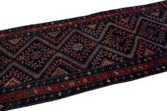 Antique Pesian Malayer Handmade Tribal Blue And Red Wool Runner Rug - 2138007