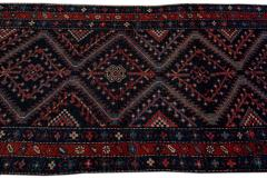 Antique Pesian Malayer Handmade Tribal Blue And Red Wool Runner Rug - 2138008