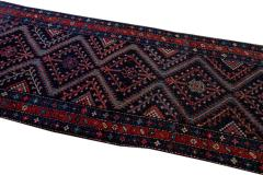 Antique Pesian Malayer Handmade Tribal Blue And Red Wool Runner Rug - 2138009