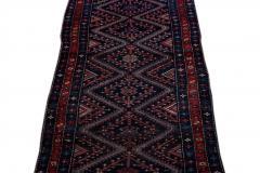 Antique Pesian Malayer Handmade Tribal Blue And Red Wool Runner Rug - 2138010