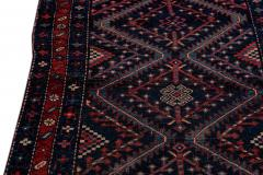 Antique Pesian Malayer Handmade Tribal Blue And Red Wool Runner Rug - 2138011