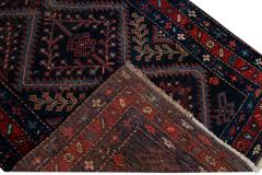 Antique Pesian Malayer Handmade Tribal Blue And Red Wool Runner Rug - 2138012