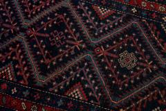 Antique Pesian Malayer Handmade Tribal Blue And Red Wool Runner Rug - 2138013