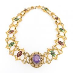 Antique Renaissance Revival Amethyst Diamond Natural Pearl Gold and Enamel - 1304236