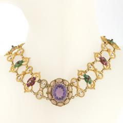 Antique Renaissance Revival Amethyst Diamond Natural Pearl Gold and Enamel - 1304237