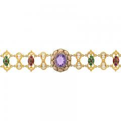 Antique Renaissance Revival Amethyst Diamond Natural Pearl Gold and Enamel - 1304238