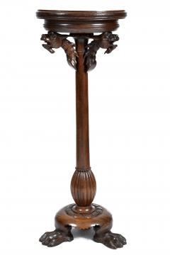 Antique Renaissance Revival Walnut Pedestal Stand France 19th Century - 1237919