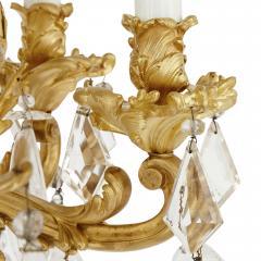 Antique Rococo style ormolu and cut glass twelve light chandelier - 2013565