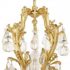 Antique Rococo style ormolu and cut glass twelve light chandelier - 2013567