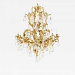 Antique Rococo style ormolu and cut glass twelve light chandelier - 2015770