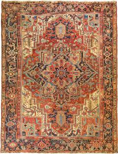 Antique Room Size Heriz Rug w Serapi Colors circa 1910 8 75 x 11 3 - 1165448