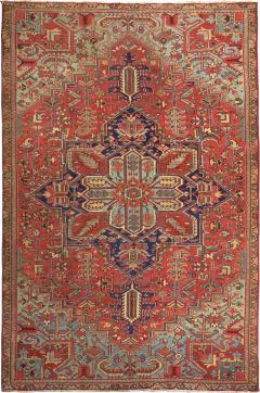 Antique Room Size Heriz Rug with Serapi Blue Colors circa 1910 12 x 6 5 - 1091681