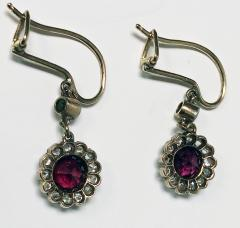 Antique Ruby Diamond Gold Platinum Earrings C 1920 - 1167724