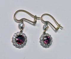 Antique Ruby Diamond Gold Platinum Earrings C 1920 - 1167725