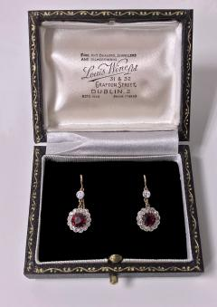 Antique Ruby Diamond Gold Platinum Earrings C 1920 - 1167727