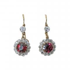 Antique Ruby Diamond Gold Platinum Earrings C 1920 - 1168559