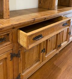 Antique Rustic Pine Breakfront Bookcase Cabinet - 1999879