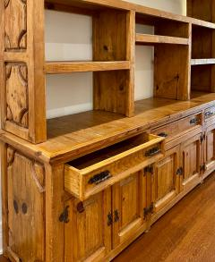 Antique Rustic Pine Breakfront Bookcase Cabinet - 1999895