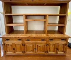 Antique Rustic Pine Breakfront Bookcase Cabinet - 1999896