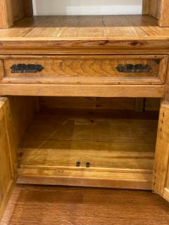 Antique Rustic Pine Breakfront Bookcase Cabinet - 1999907