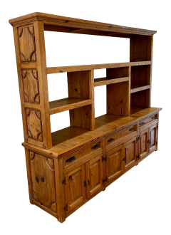 Antique Rustic Pine Breakfront Bookcase Cabinet - 1999924