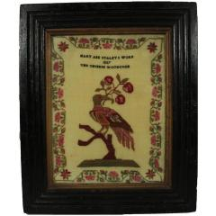 Antique Sampler 1837 Woodcock by Mary Staley - 1745679