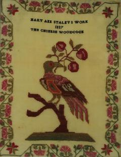 Antique Sampler 1837 Woodcock by Mary Staley - 1745881
