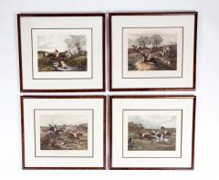 Antique Set of Four Hand Colored Lithographs Forests Steeple Chase - 1038202
