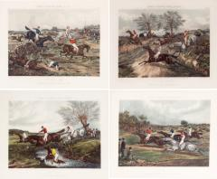 Antique Set of Four Hand Colored Lithographs Forests Steeple Chase - 1039766