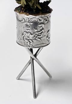 Antique Silver Miniature Planter and Stand Germany C 1900  - 1793305