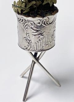 Antique Silver Miniature Planter and Stand Germany C 1900  - 1793306