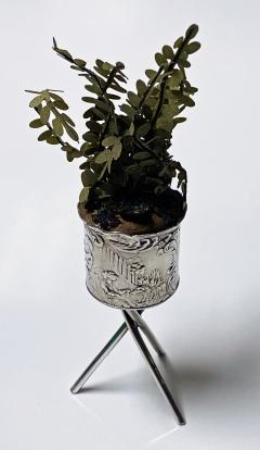 Antique Silver Miniature Planter and Stand Germany C 1900  - 1793307
