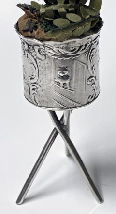Antique Silver Miniature Planter and Stand Germany C 1900  - 1793309