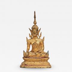 Antique Southeast Asian Gilt Metal Seated Buddha - 2022352