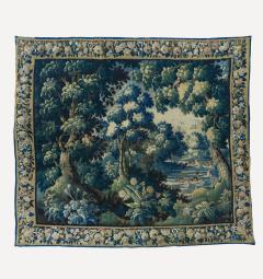 Antique Square 17th Century Flemish Verdure Landscape Tapestry with Birds - 1943687