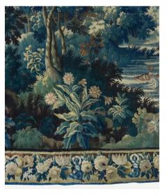 Antique Square 17th Century Flemish Verdure Landscape Tapestry with Birds - 1943708