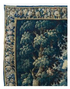 Antique Square 17th Century Flemish Verdure Landscape Tapestry with Birds - 1943710