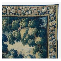 Antique Square 17th Century Flemish Verdure Landscape Tapestry with Birds - 1943711