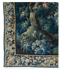 Antique Square 17th Century Flemish Verdure Landscape Tapestry with Birds - 1943712