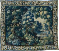 Antique Square 17th Century Flemish Verdure Landscape Tapestry with Birds - 1943732