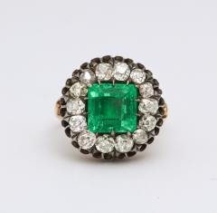 Antique Square Cut Emerald and Old Mine Diamond Ring GIA Certified - 1806374