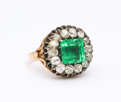 Antique Square Cut Emerald and Old Mine Diamond Ring GIA Certified - 1806375